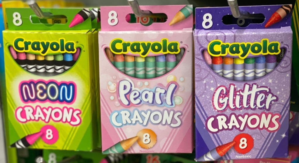 boxes of crayons hanging in store