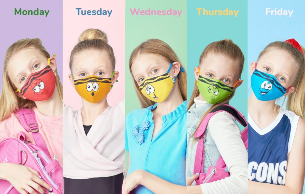 five photos of a girl wearing new outfits and crayola face masks labeled with different days of the week