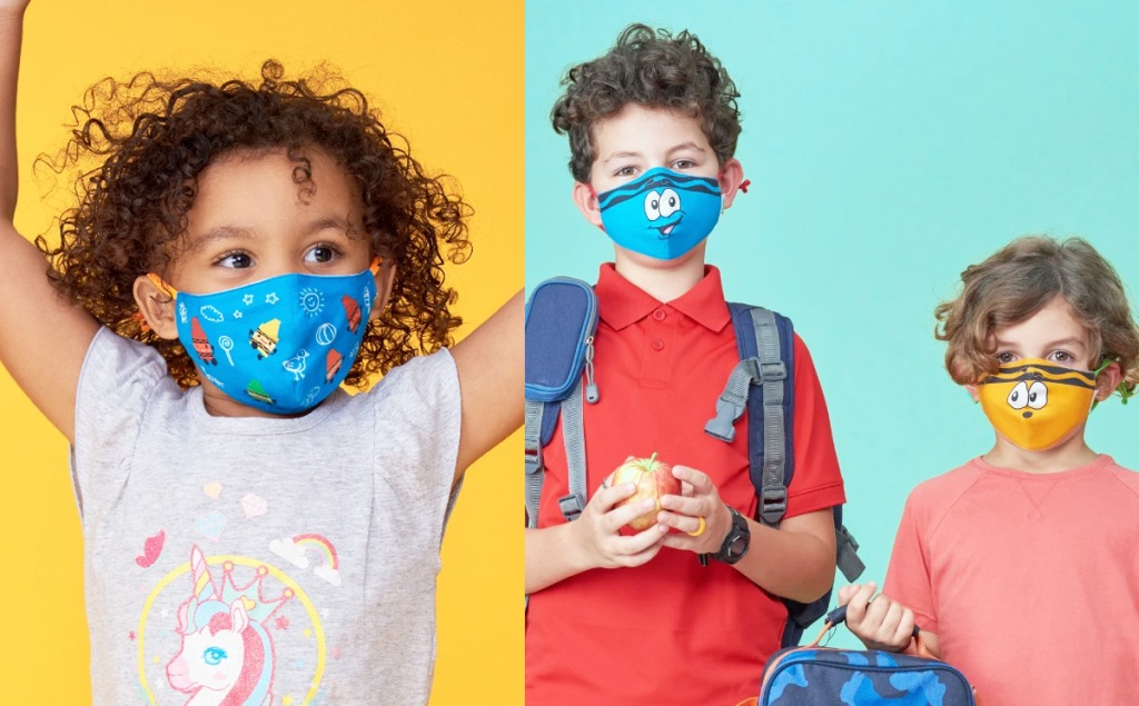 three kids modeling crayola themed face masks