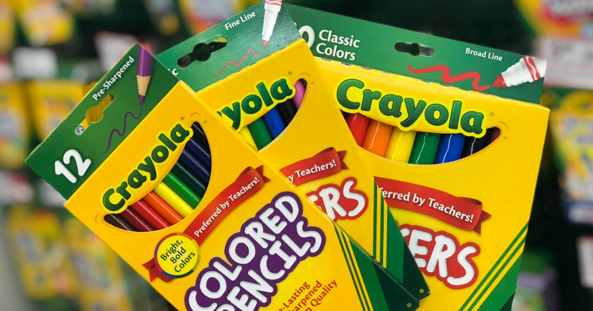 crayola pencils and markers held up in store