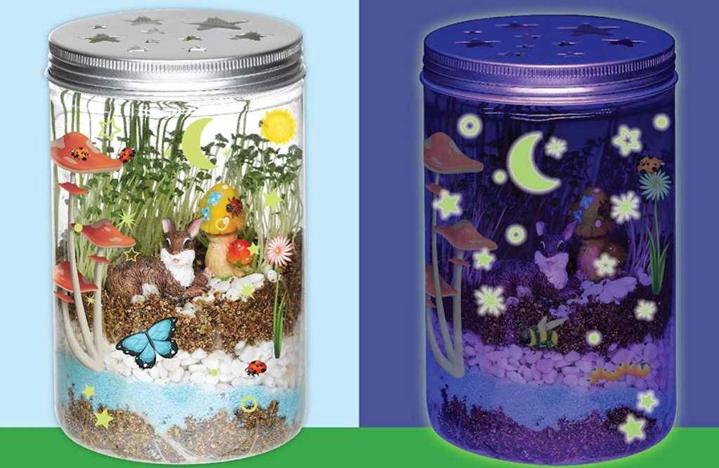 kids terrarium in the day and image of it glowing at night next to it