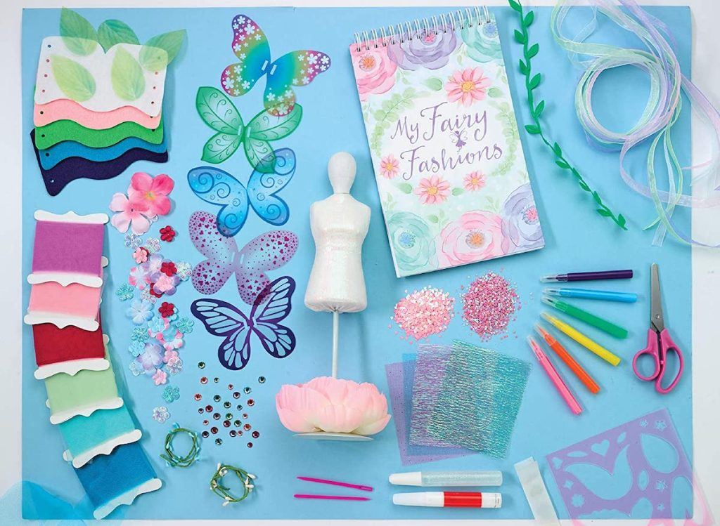 craft kit with fabric, glitter and fairy wings
