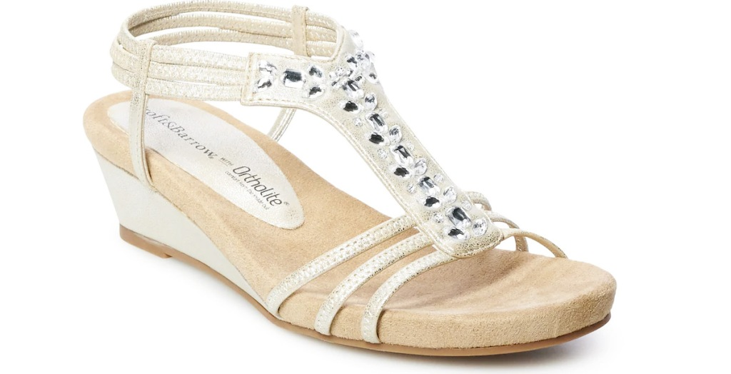 white strapy women's wedge sandal with gems on top