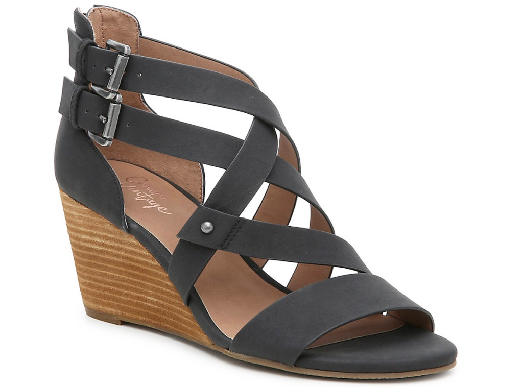 womens black wedge sandal with criss-crossing straps