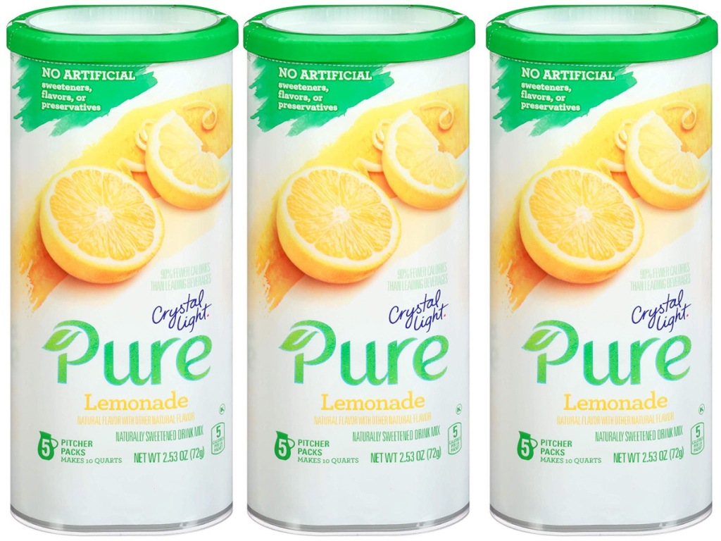 three white and green canisters of crystal light lemonade drink mix