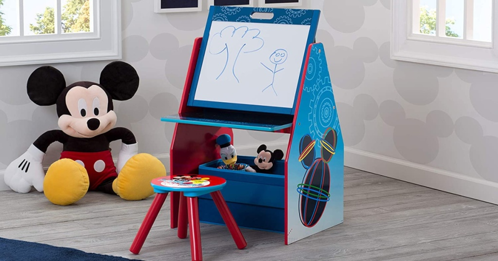 Mickey Mouse art desk and chair in Mickey Mouse themed bedroom