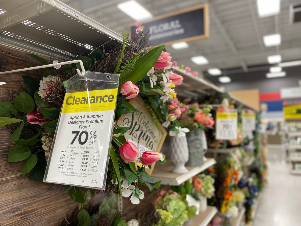 Designer floral wreaths in Michaels store