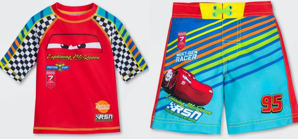 toddler boys Disney Cars rash guard and swim trunks