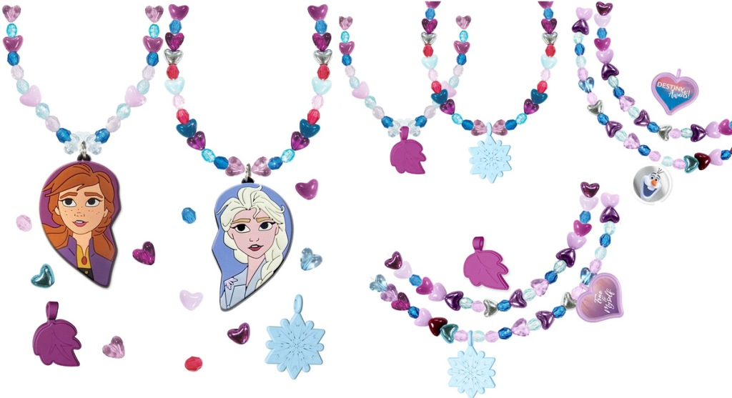 bracelets and necklaces made with blue and pink beads and frozen themed charms