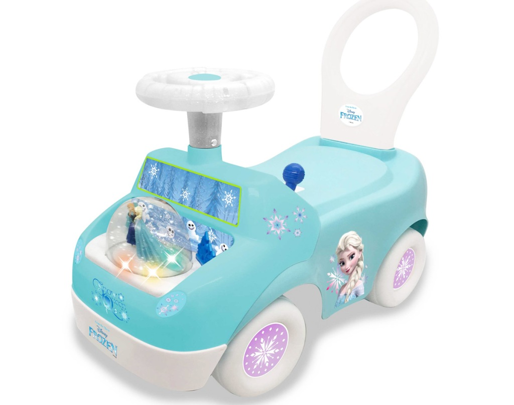 white and blue disney frozen themed toddler ride-on