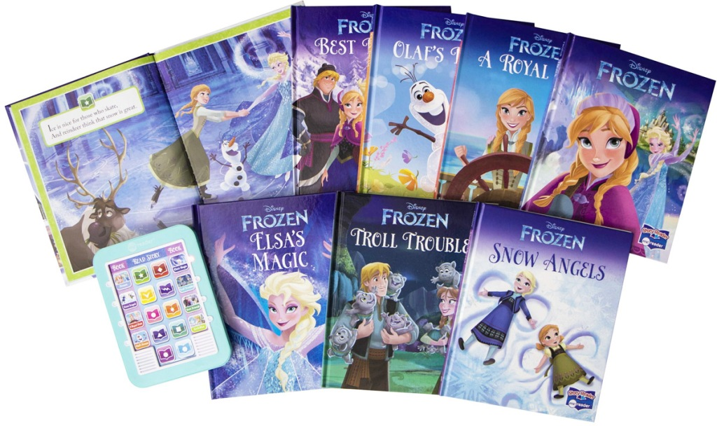 8 disney frozen books and blue electronic reader