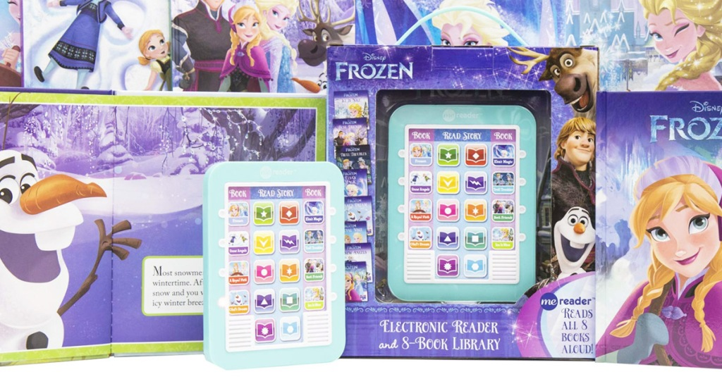 blue disney frozen electronic reader with packaging and frozen books surrounding it