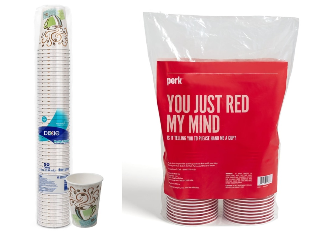 Disposable paper and plastic cups stacked and sitting next to each other