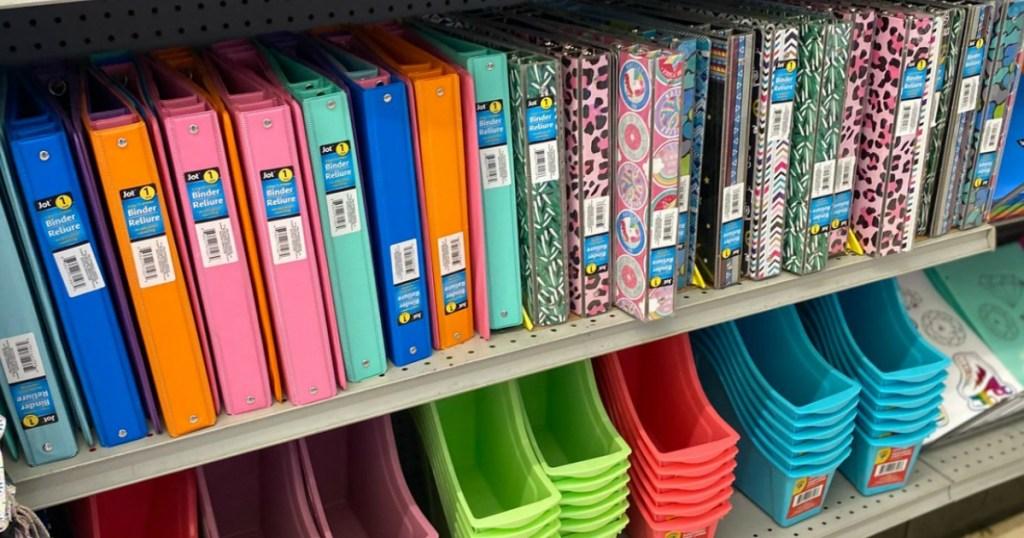 Dollar Tree notebooks on store shelf