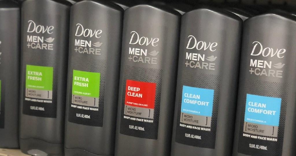 bottles of men's body wash on store shelf