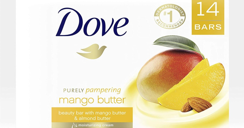 box of Dove brand beauty bars with a Mango on it