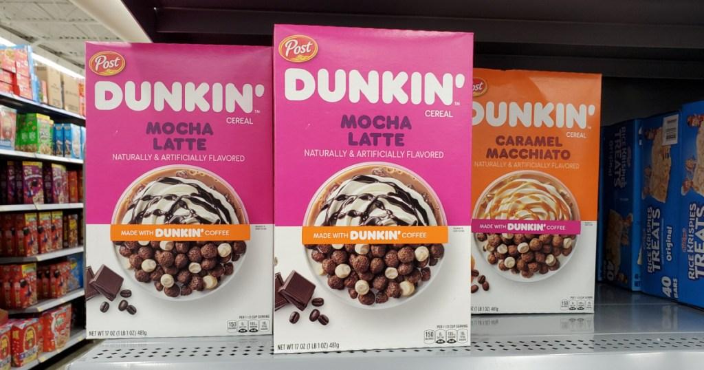 Dunkin Mocha Latte Cereals on store shelf