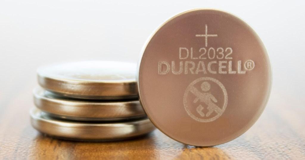 four lithium coin batteries