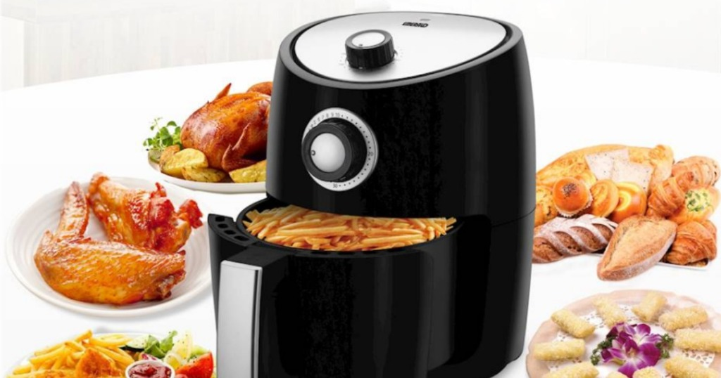 Best Air Fryer - black air fryer surrounded by fried foods