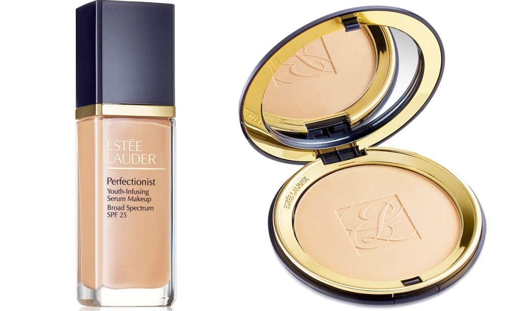 bottle of estee lauder liquid foundation and an open pressed powder compact