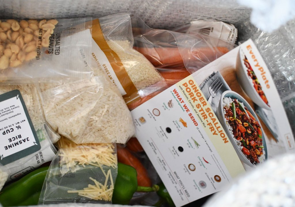 insulated box filled with individually wrapped ingredients and recipe cards
