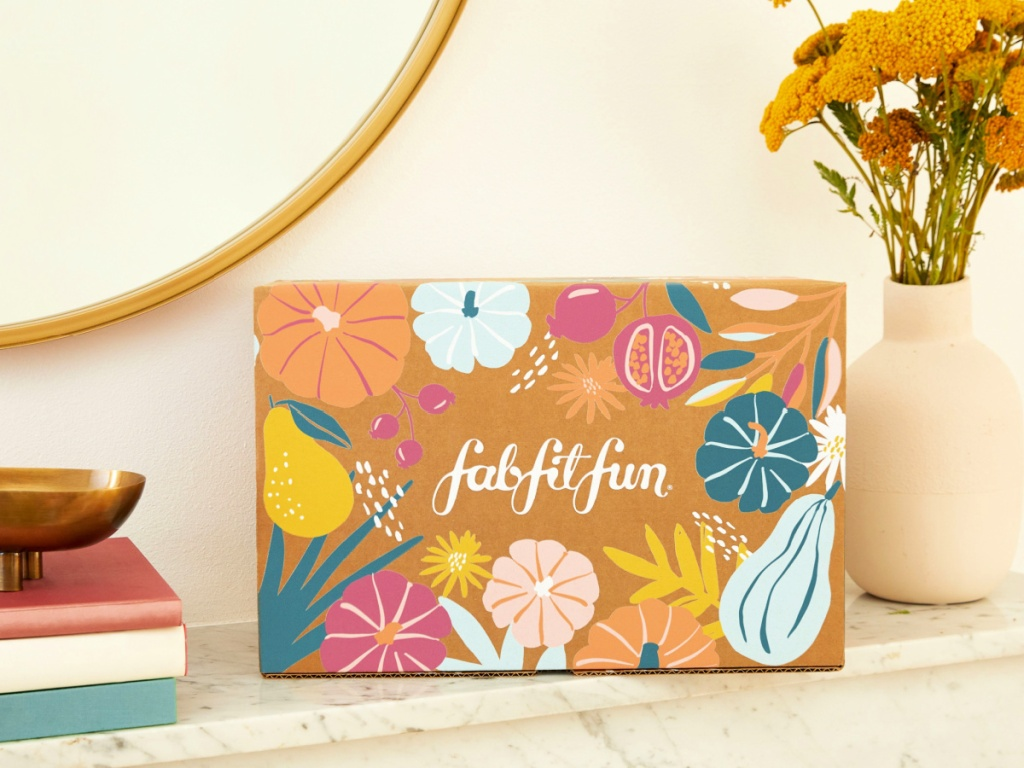 FabFitFun Fall 2020 on table with flowers and books