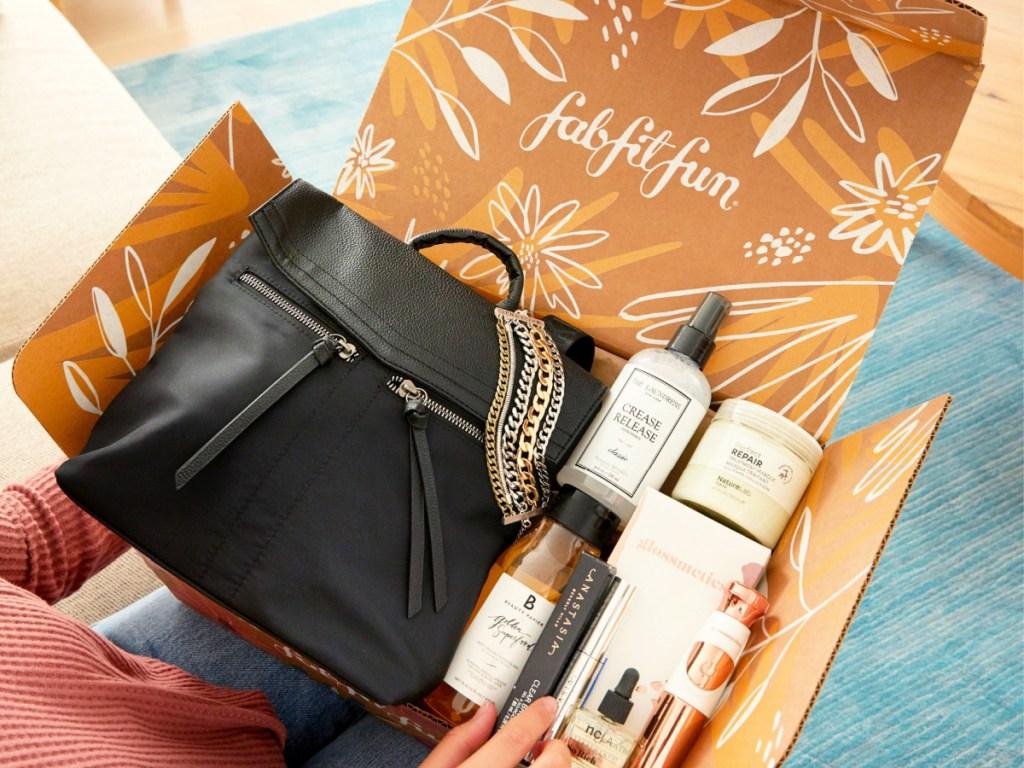 FabFitFun Fall 2020 on woman's lap