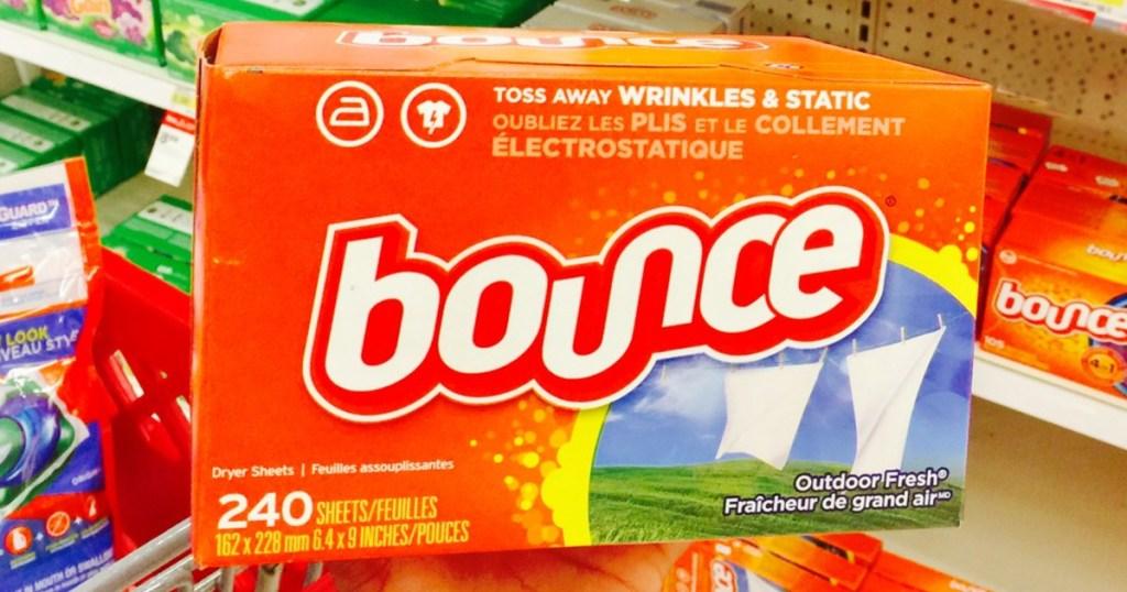 large orange box of bounce fabric softener sheets