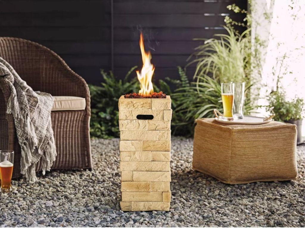 A fire column on a patio
