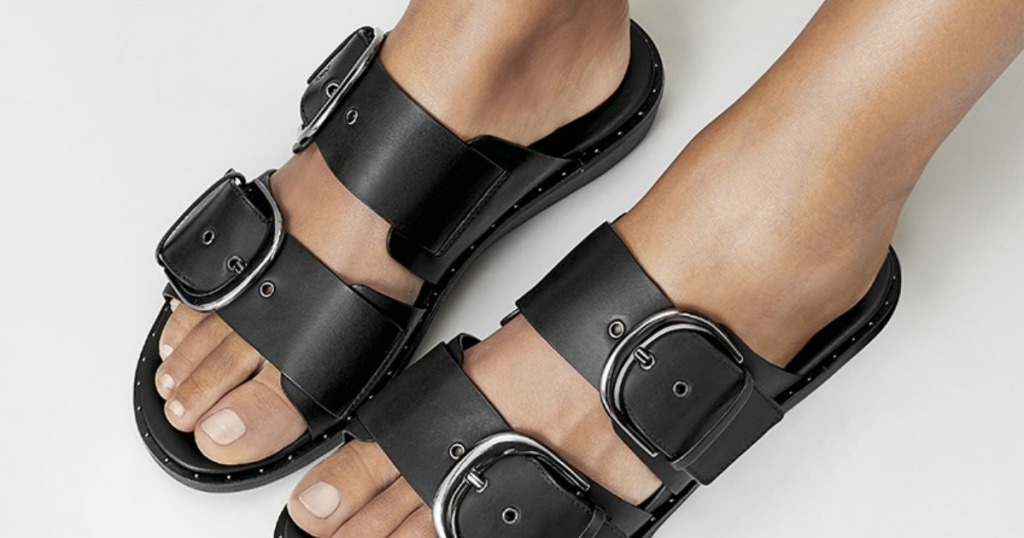 womens black sandals with buckles