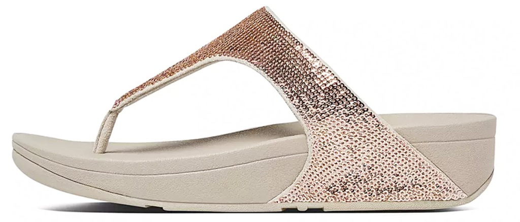 rose gold colored women flipflip with sequin straps and thick rubber sole