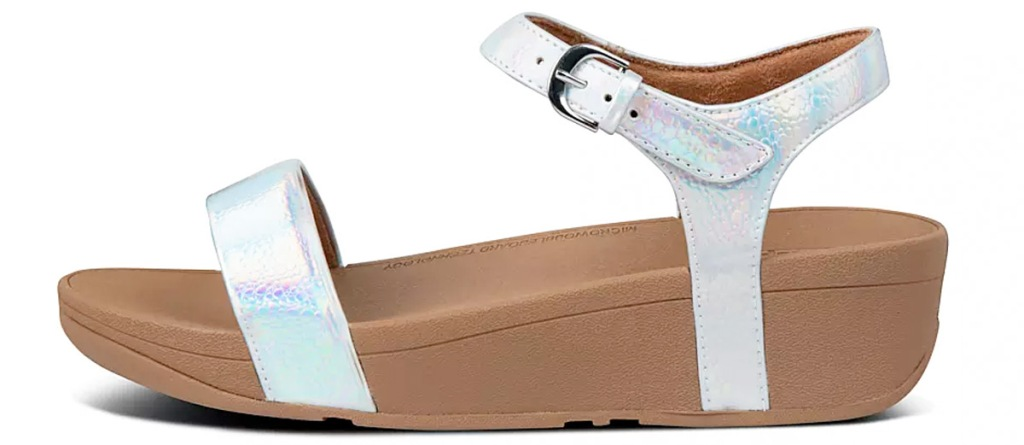 womens sandal with iridescent straps and thick brown rubber sole