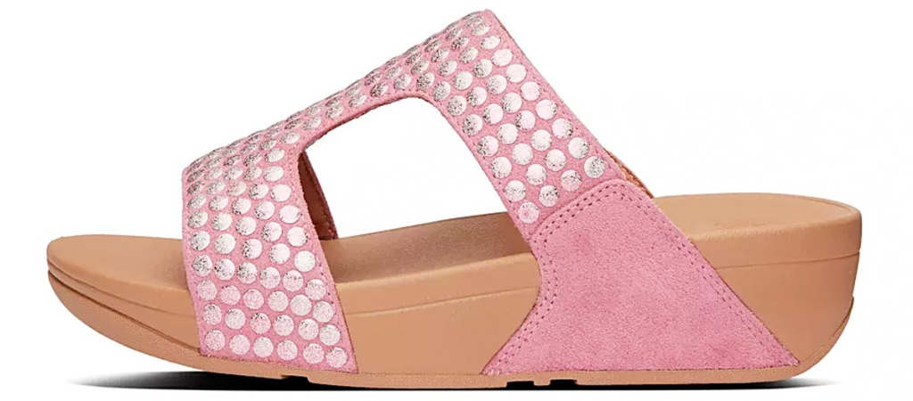 pink womens sandals with thick tan rubber sole