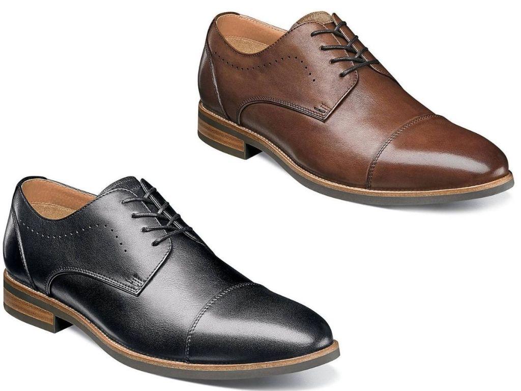 twocap toe men's leather dress shoes