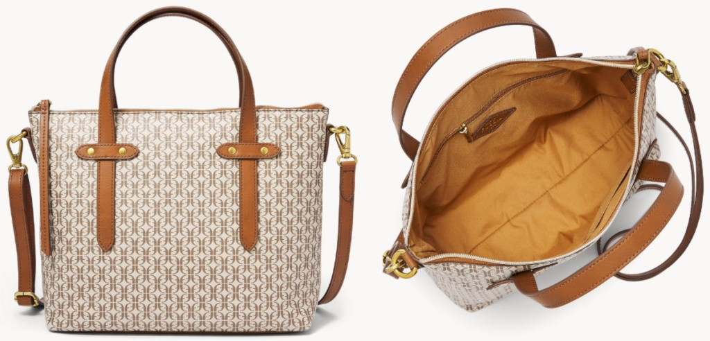 Front view of a tan tote and top view of the tote open