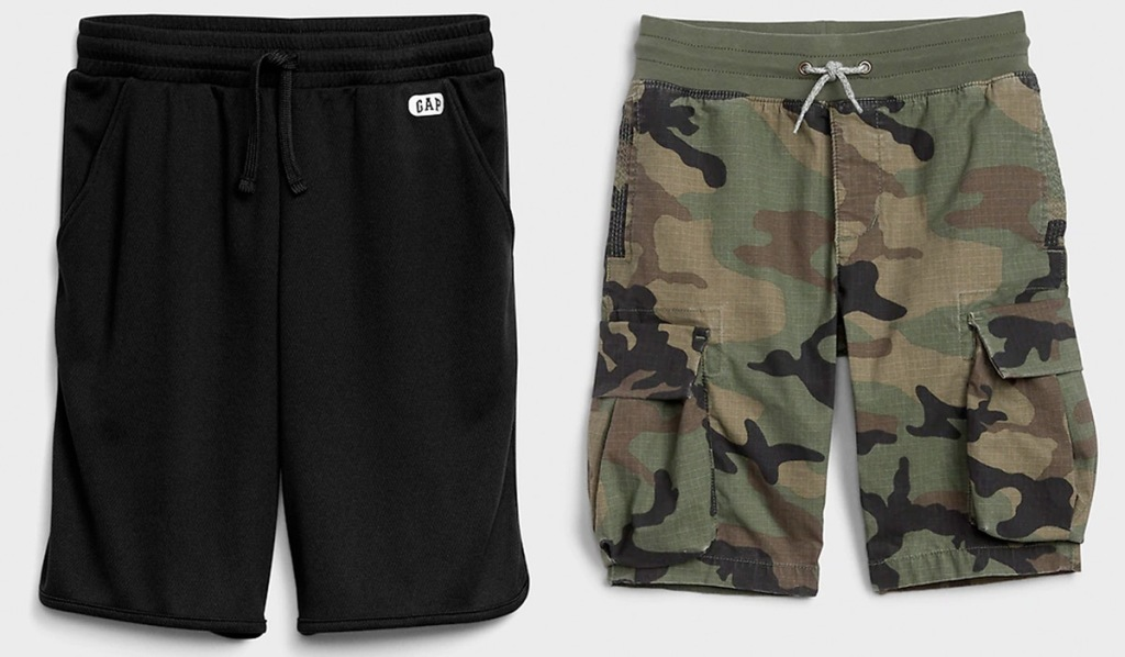 two pairs of boys shorts in black and green camo print
