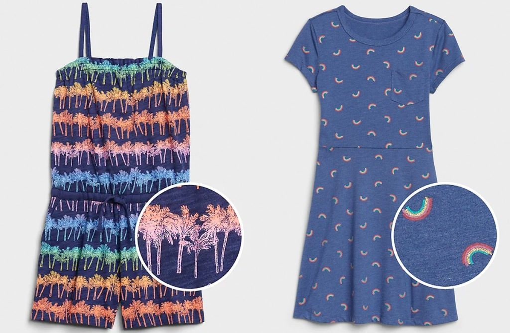 girls romper with mutli color stripes made of palm tree print and blue dress with mini rainbow print