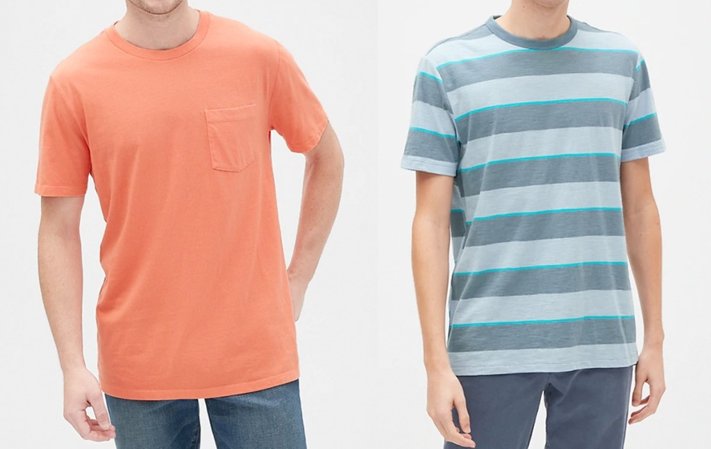 two men modeling tshirts in solid color orange and blue with grey stripes
