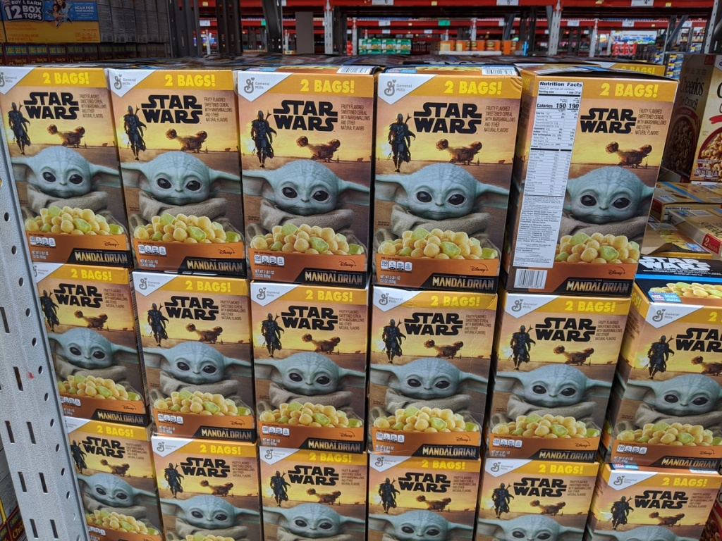 large display of star wars Madalorian cereal in store