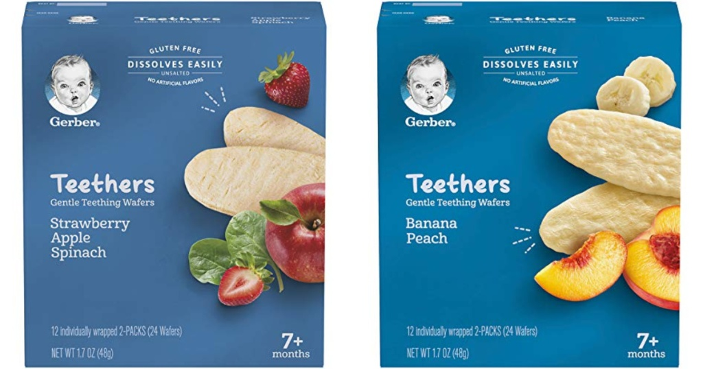 two boxes of fruit flavored gerber baby teethers