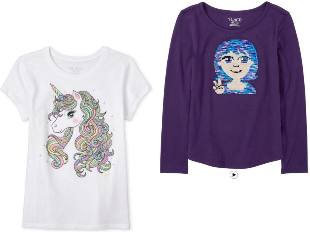 two girl's shirts, one with short sleeves and one with long sleeves