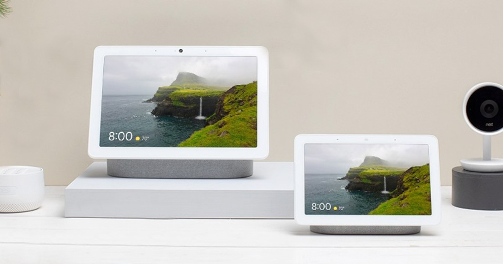 google home nest display and max display next to each other