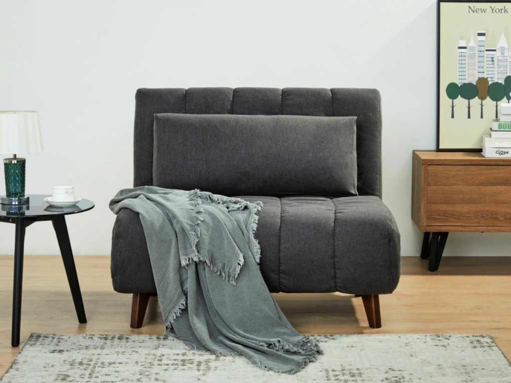 Grey Home Springfield Futon Convertible Chair in living room