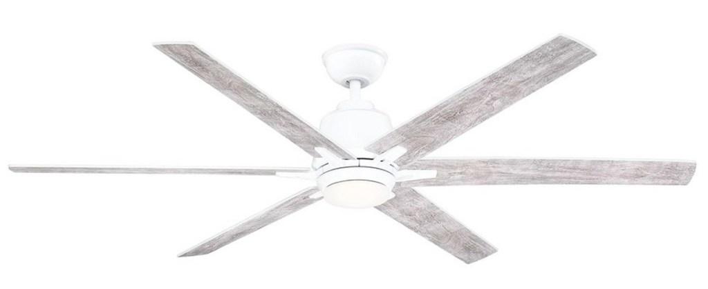 white ceiling fan with wood grain fan blades