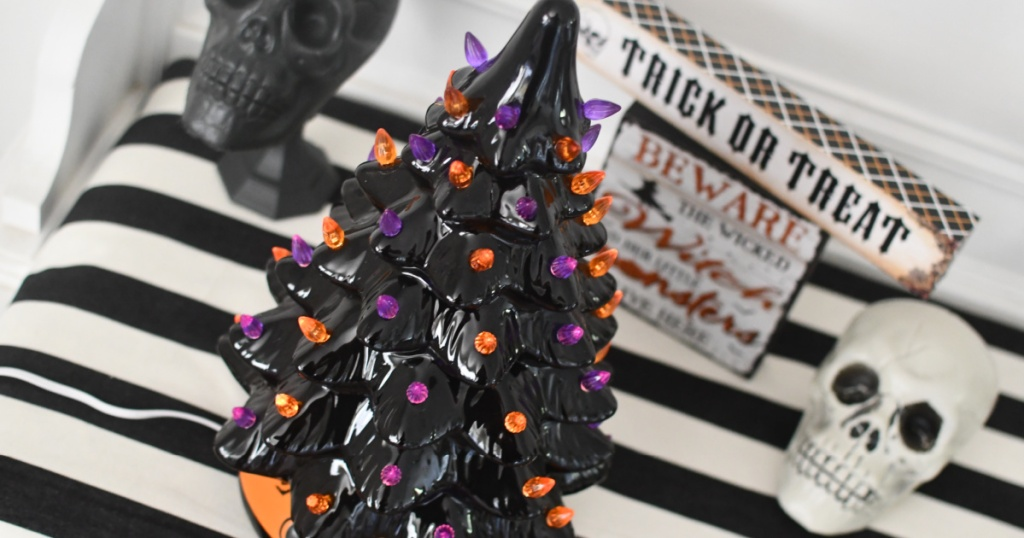 overhead view of halloween ceramic tree