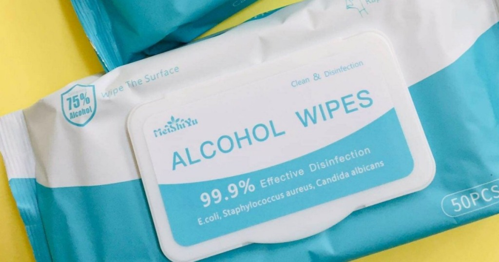 package of alcohol wipes