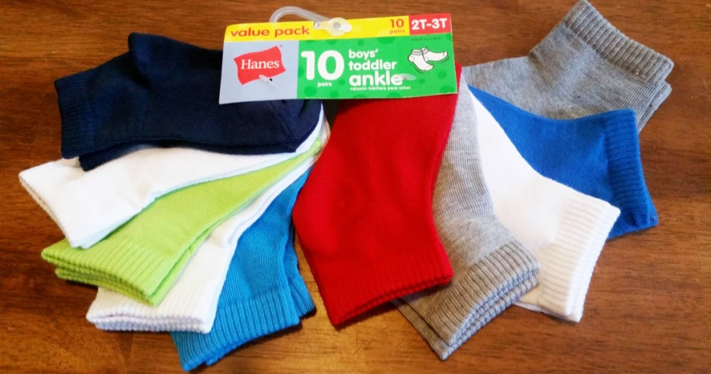 hanes toddler boys socks 10-pack in assorted colors on a wood table