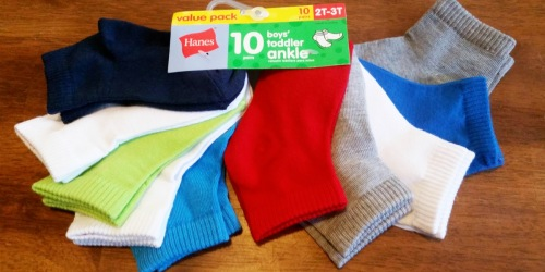 Hanes Toddler Boys Socks 10-Pack Just $5.50 on Amazon | Only 55¢ per Pair