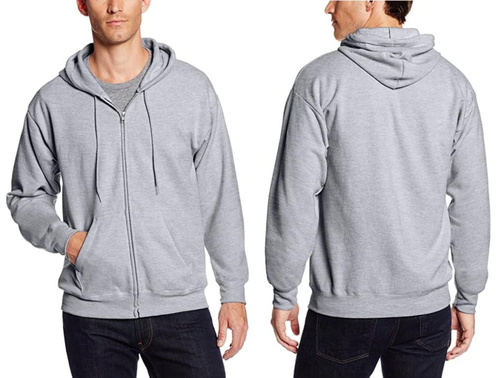 man wearing Hanes Men's Full-Zip Eco-Smart Fleece Hoodie