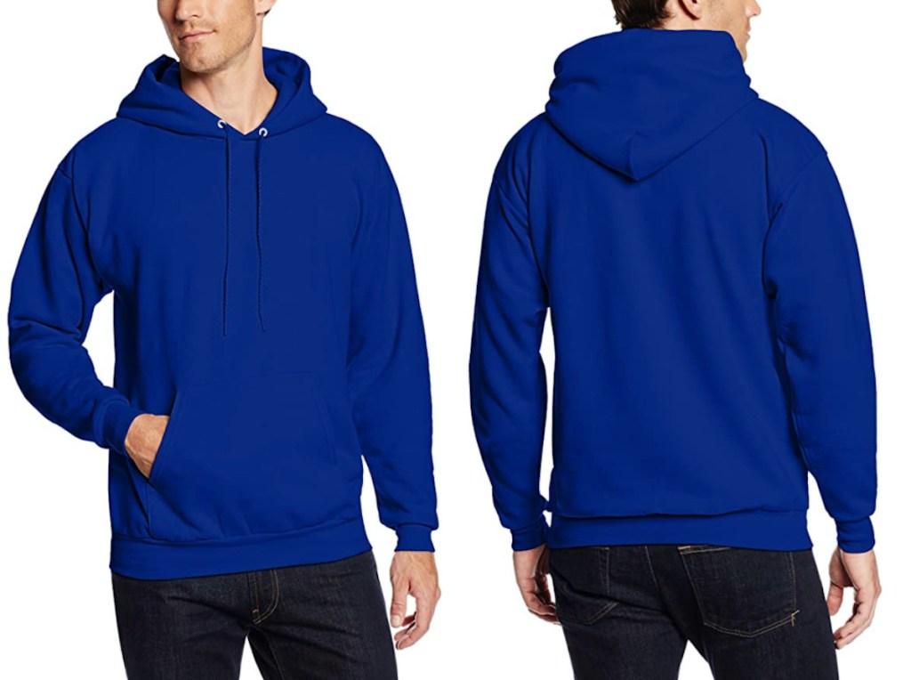 man wearing royal blue Hanes Mens Pullover Ecosmart Fleece Hooded Sweatshirt
